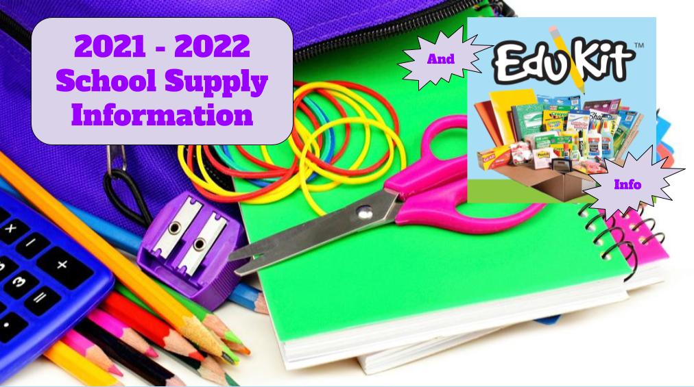2021 - 2022 Commande de fournitures scolaires et d'EduKit!