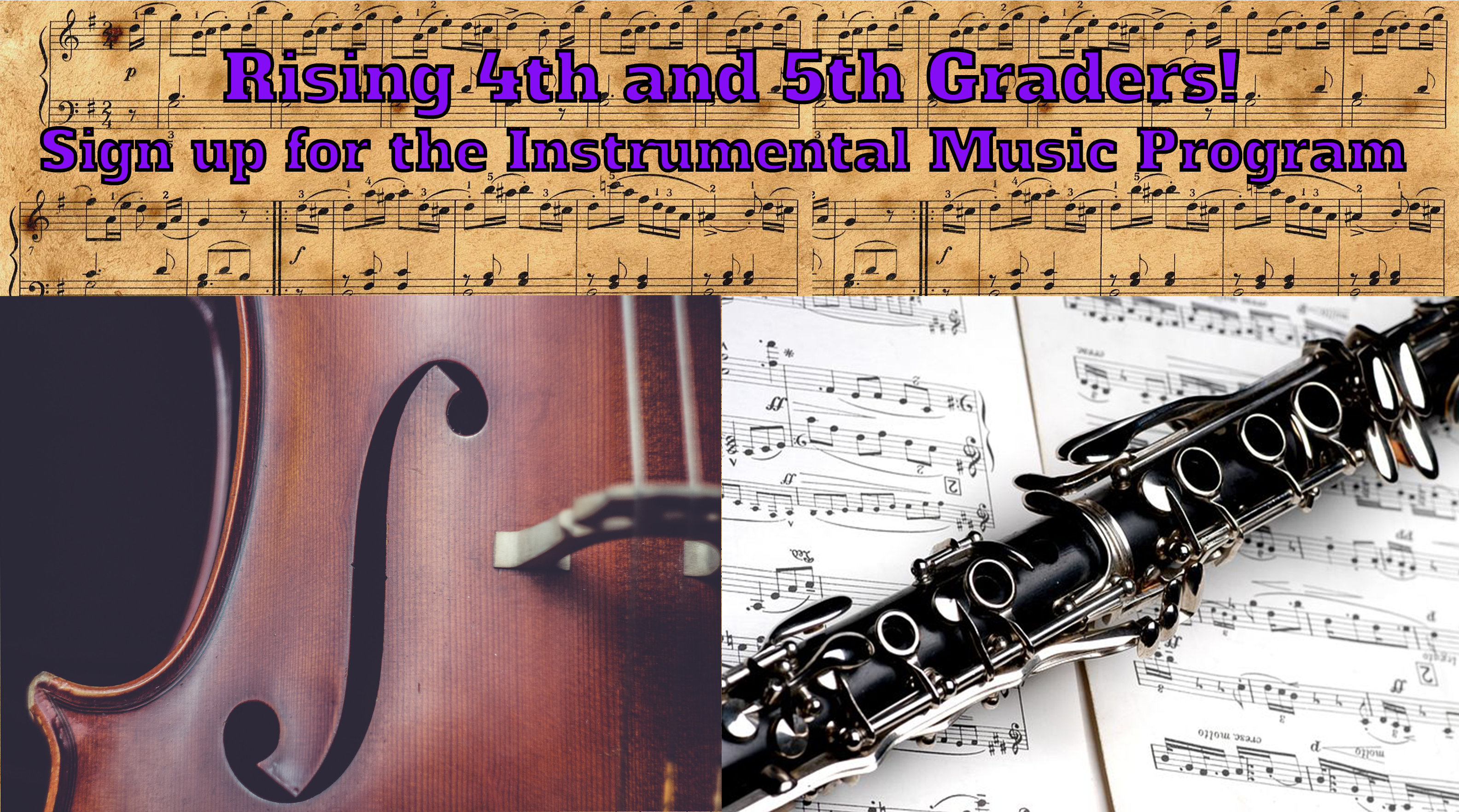 Sign up for the 2019 – 2020 Instrumental Music Program!