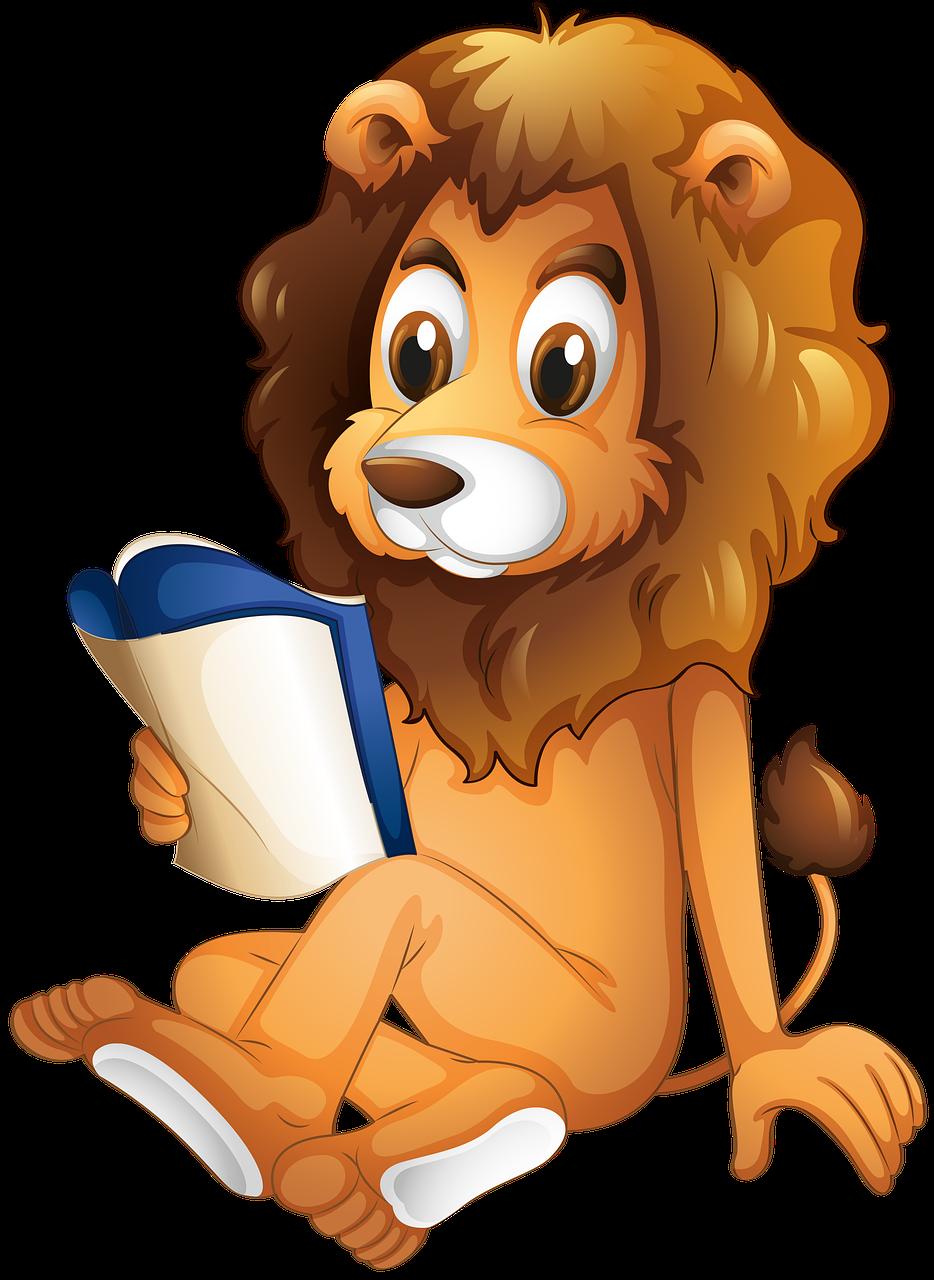 شیر ایک کتاب پڑھ رہا ہے